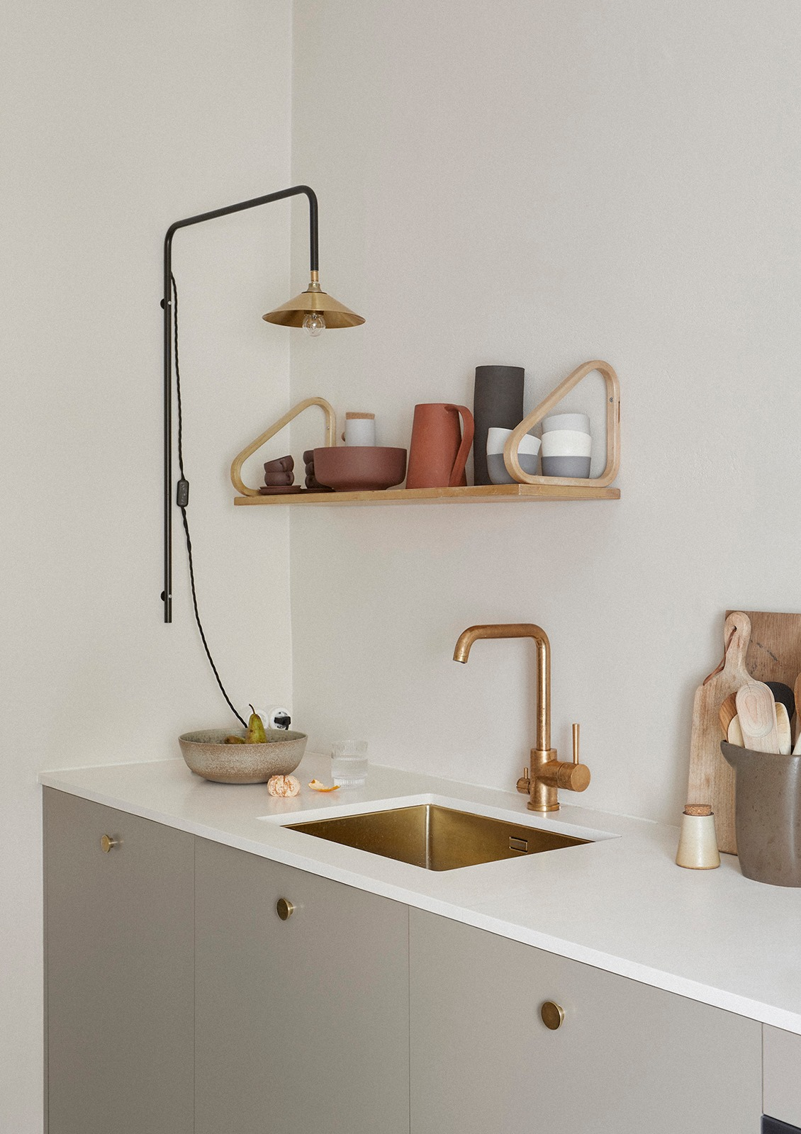 ilaria fatone _ shelf in minimal kitchen _ a wooden design shelf