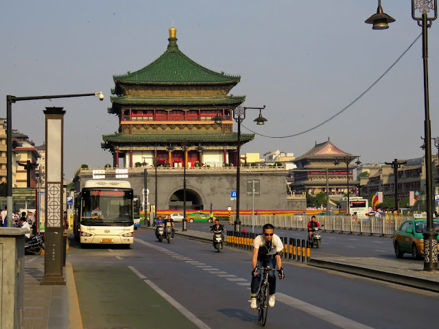 Bus near the Bell Tower in Xi'an China