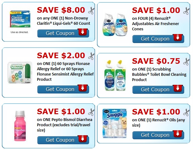 flonase coupon, renuzit coupon, scrubbing bubbles coupon, snuggle coupon.
