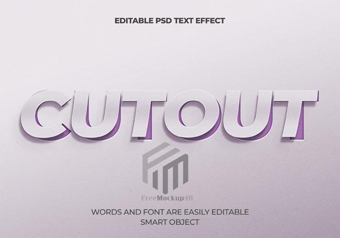 Cutout Text Effect Editable Psd Mockup