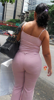 Señora pantalones vestir transparentes ajustados tanga marcada