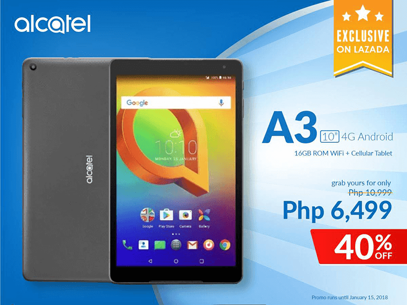 Alcatel A3 10 with 4G LTE is now available at Lazada Philippines for just PHP 6,499!