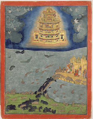 Ancient flying chariot mentioned in Ramayana, originally used by demon king Ravana
