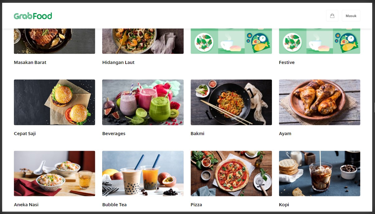 daftar kategori makanan di grabfood