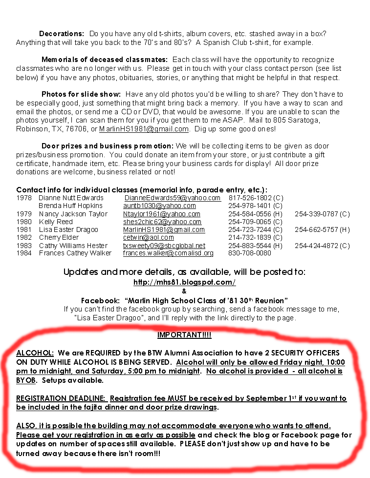 MHS Class of \u002781 - 30th Reunion Invitation/info, registration form - invitation forms