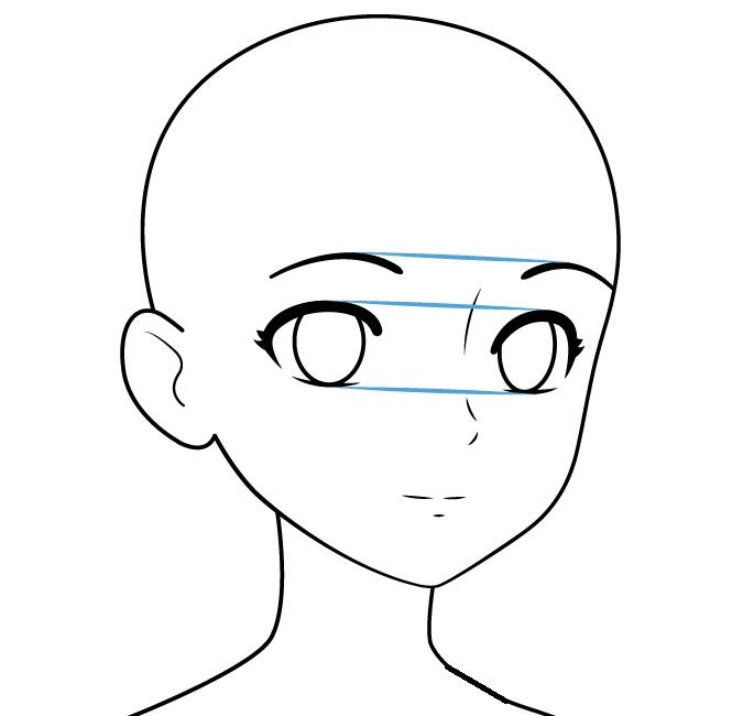 Wajah gadis anime memiliki tampilan tiga perempat