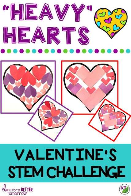 "Valentine's Day STEM Challenge: In ""Heavy"" Hearts, students fill an outer heart with inner hearts based on certain criteria & constraints in order to design the ""heaviest"" heart. Comes with modifications for grades 2-8."
