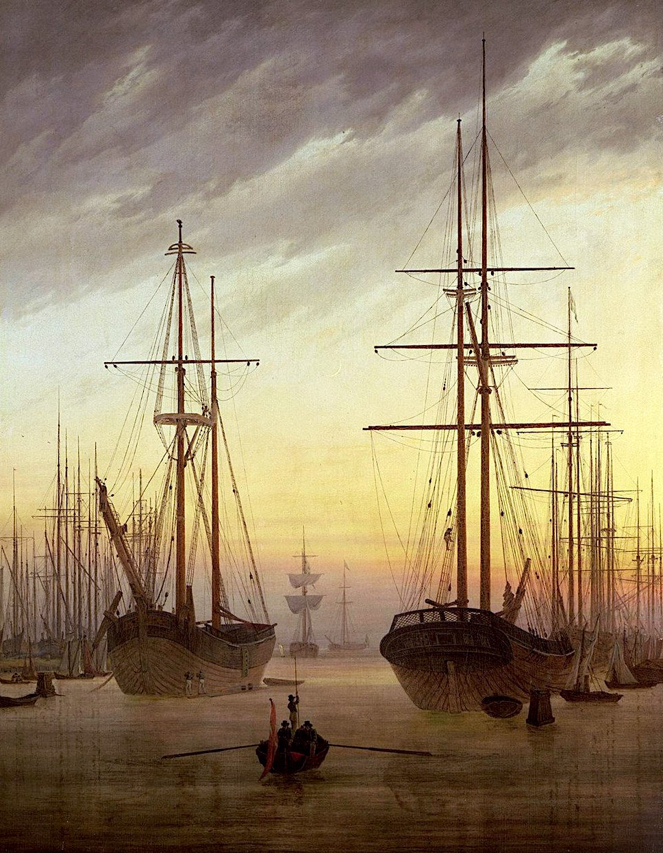 a painting by Caspar David Friedrich, ships in harbour at golden sunset