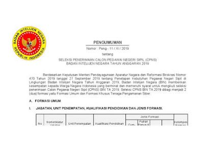 Seleksi Penerimaan CPNS Badan Intelijen Negara (721 Formasi) Tahun 2019