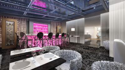 Perspective 3d restaurant hôtel de luxe de nuit