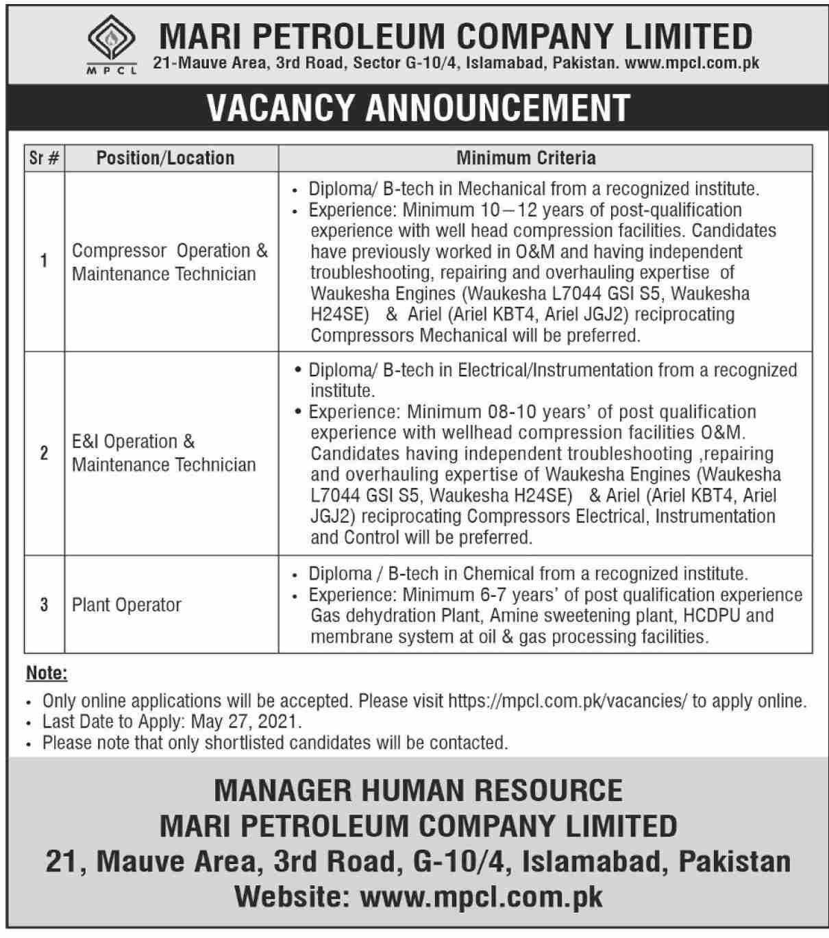 Mari Petroleum Company Limited (MPCL) Jobs 2021 in Pakistan