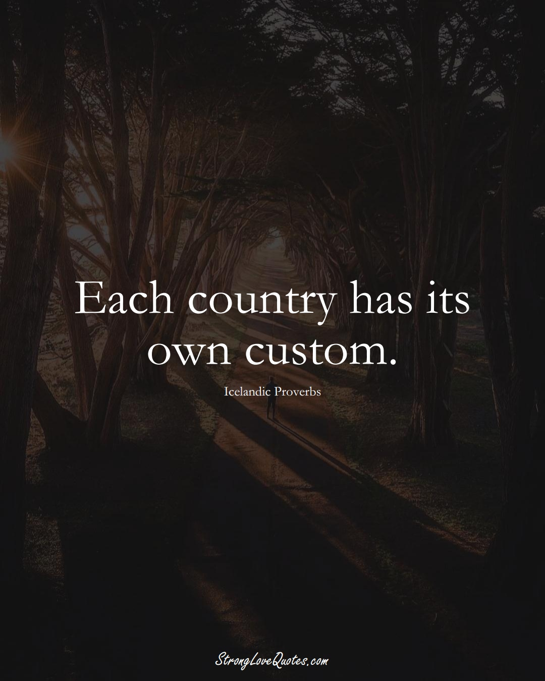 Each country has its own custom. (Icelandic Sayings);  #EuropeanSayings