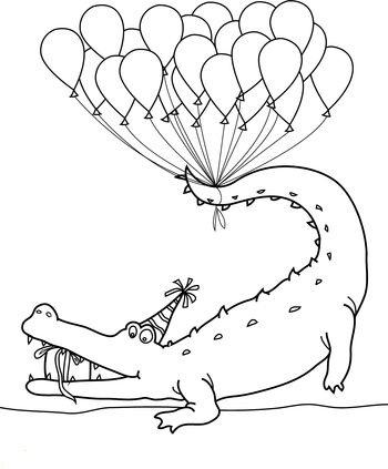 Tranh tô màu cá sấu và tiệc sinh nhật
