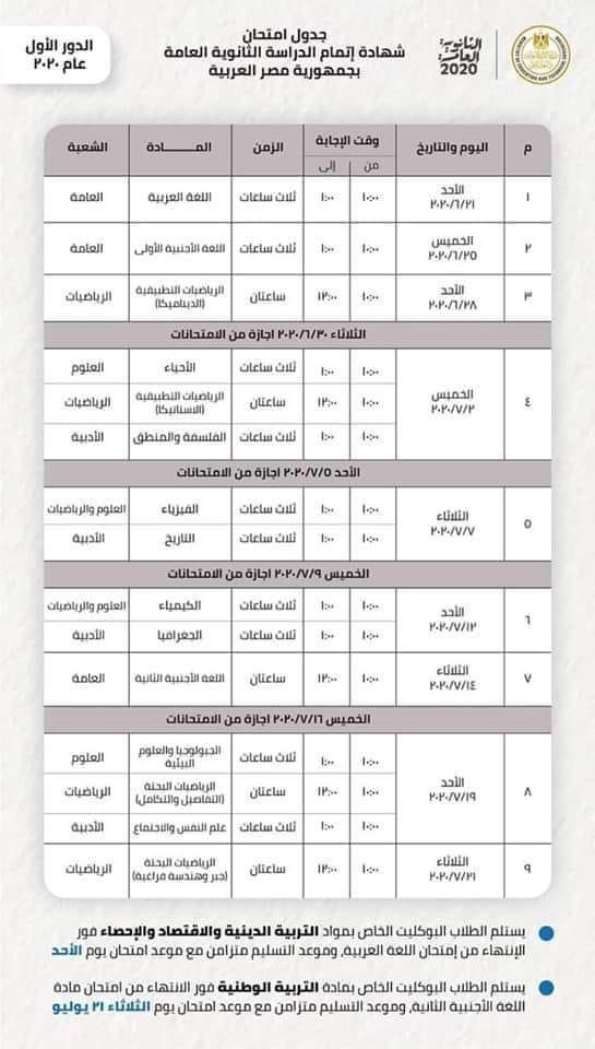 جدول امتحانات  الثانوية العامة  المعدل وترتيب المواد × 9 خطوات