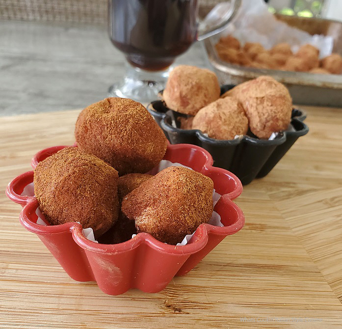 these are Irish potato candy rolled in cinnamon and cocoa powder in small silicon cups
