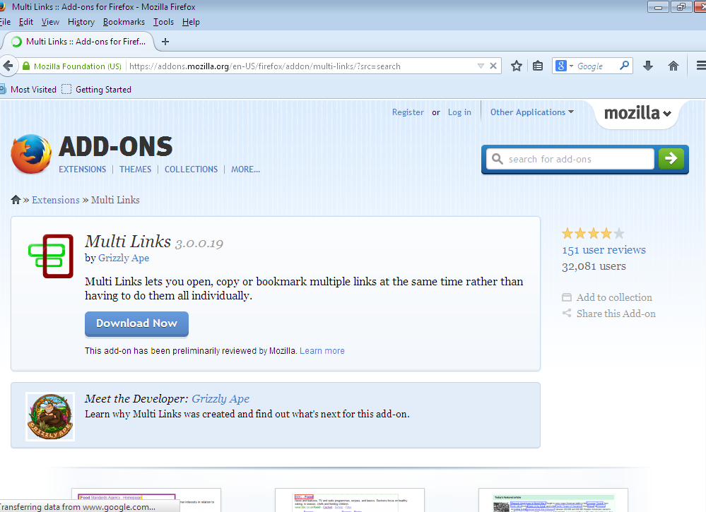Multiple link open in Mozilla browser in one click step 1