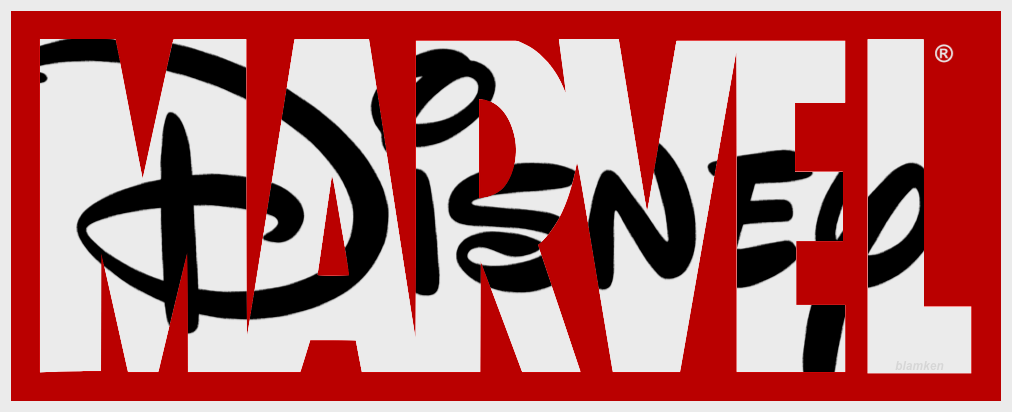 Disney signature logo inside of Marvel logo