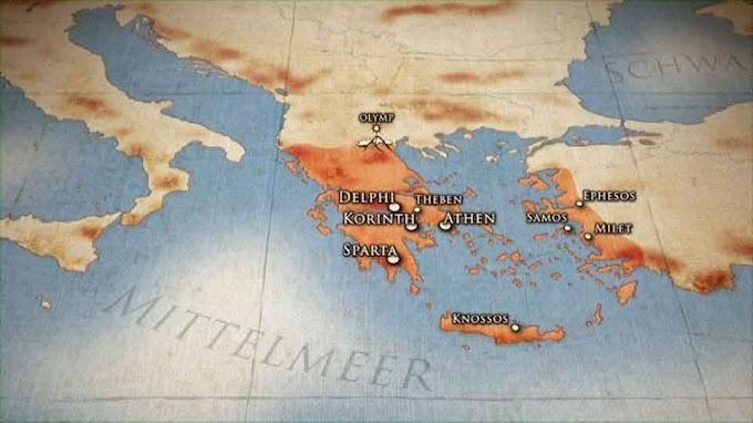 Landkarten - Verbreitung der griechischen Schriftsysteme und Dialekte