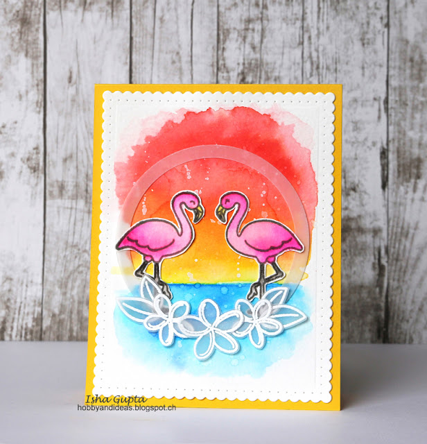 Sunny Studio Stamps: Tropical Paradise Flamingo Summer Card by Isha Gupta.