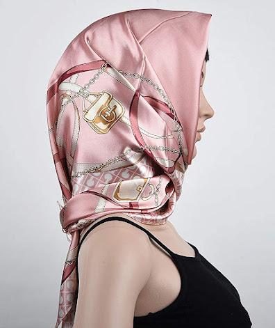 Cheap Pink Silky Satin Scarves