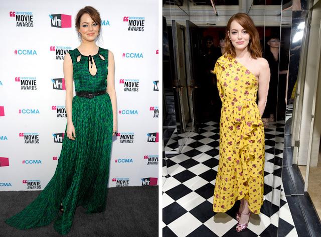 Эмма Стоун в зеленом и желтом платье