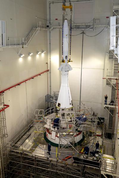 The launch abort tower is installed on the Orion capsule inside the Launch Abort System Facility at NASA's Kennedy Space Center in Florida...on July 23, 2021.
