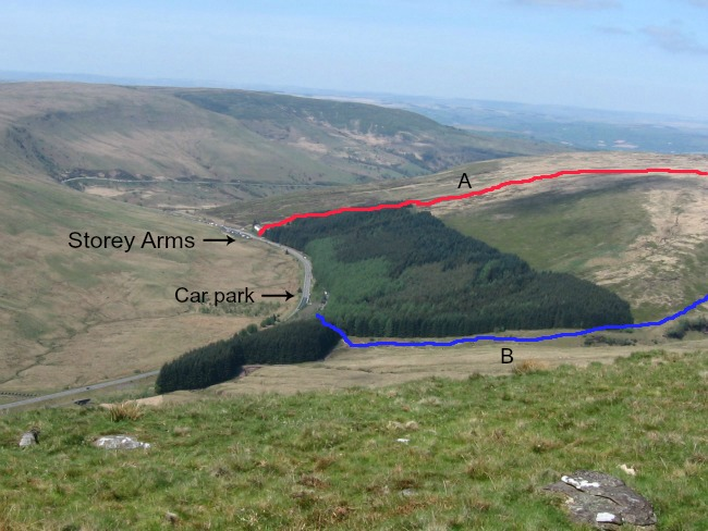 Walks-in-South-Wales-Pen-Y-Fan-image-of-routes-marked-on-photo