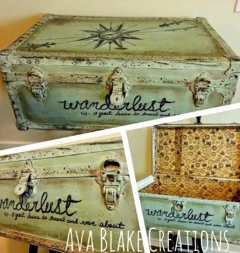 Travel Decor Ideas With Coastal Style Painted Suitcases