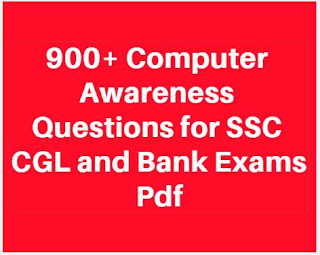 900+ Computer Awareness Questions for SSC CGL and Bank Exams Pdf