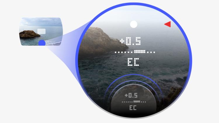 Отображение параметров съемки в видоискателе камеры Pixii