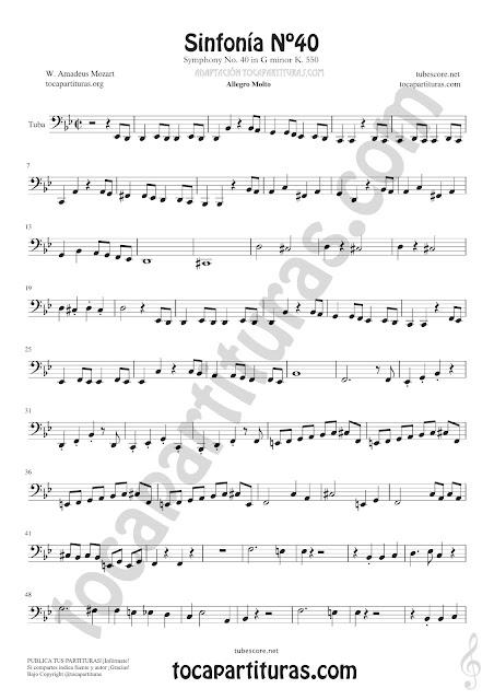 Contrabass Symphony Nº40 de Mozart Sheet Music for Tuba Music Score