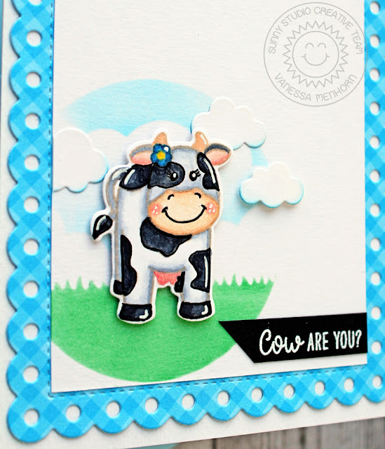 Sunny Studio Stamps: Miss Moo Comic Strip Everyday Dies Frilly Frames Dies Cow Are You Punny Card by Vanessa Menhorn