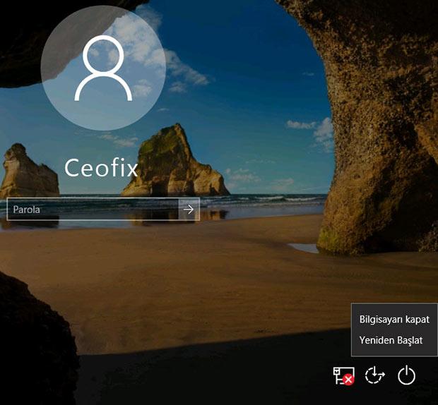 Kilitli ekrandan kapat veya yeniden başlat seçeneklerini kullanabilirsiniz-www.ceofix.com
