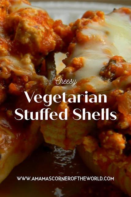 Pin this meatless recipe for easy cheesy stuffed pasta shells with tofu marinara