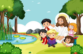 Jesus sitting with children in the park