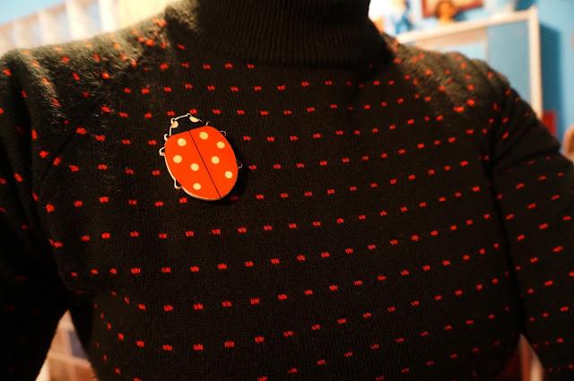 vintage ladybug brooch  broche coccinelle
