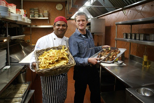 Beau Prasad And Tom In Oaxaca Kitchen With Plantains And Roasted Pork Belly