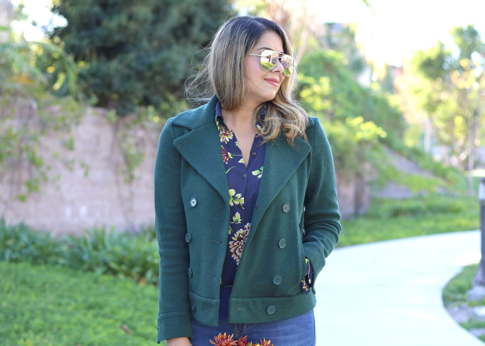 green and burgundy outfit, San Diego streetstyle