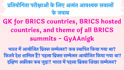 GK for BRICS countries, BRICS hosted countries, and theme of all BRICS summits - GyAAnigk