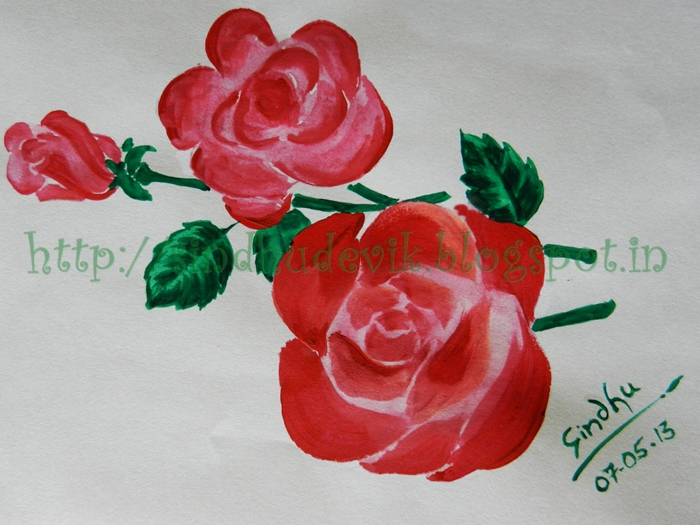 A warecolour painting of roses
