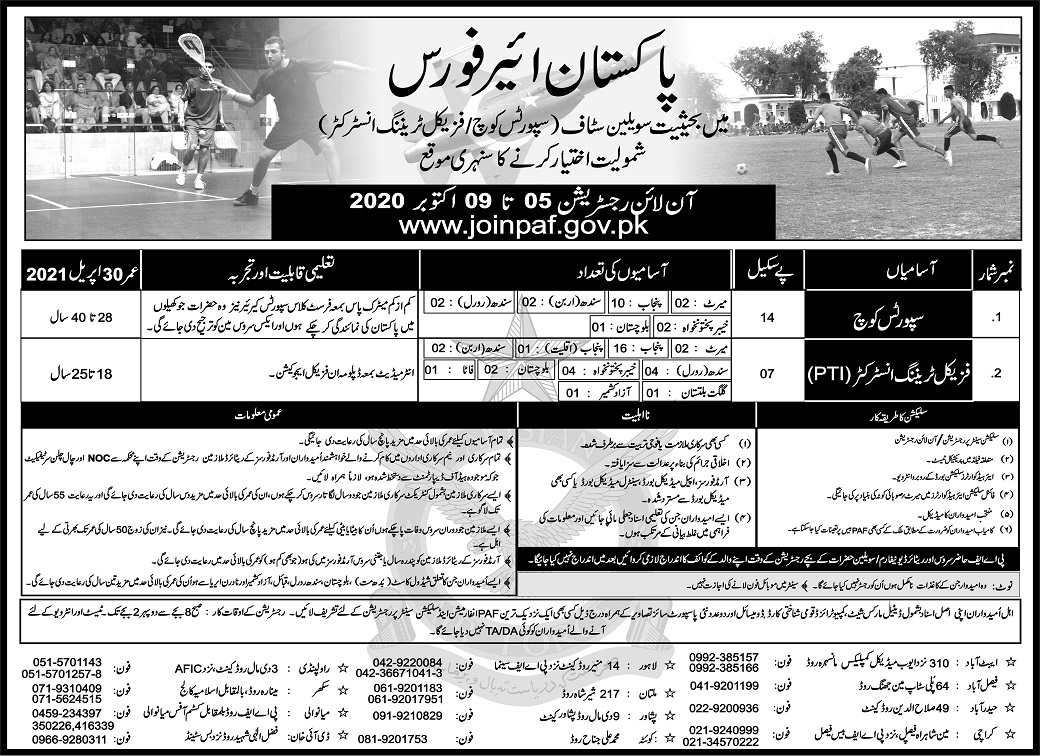 Sports Coach & Physical Training Instructor Jobs 2020 in Pakistan Air Force PAF