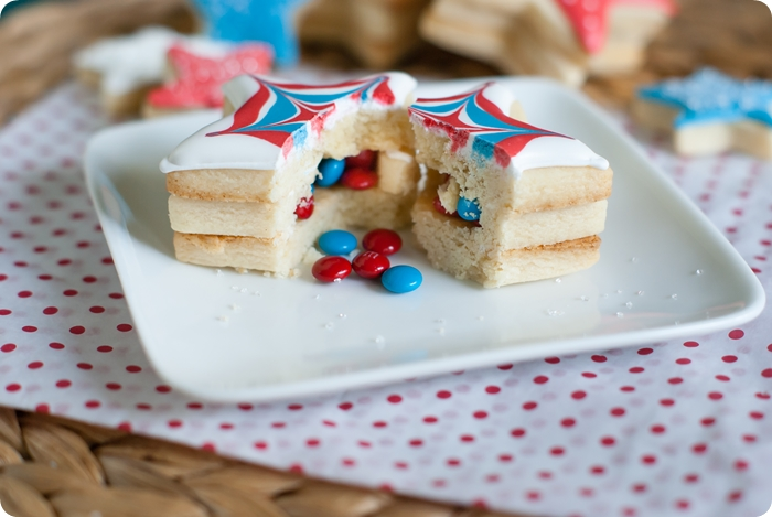 m&ms inside decorated 4th of July cookies