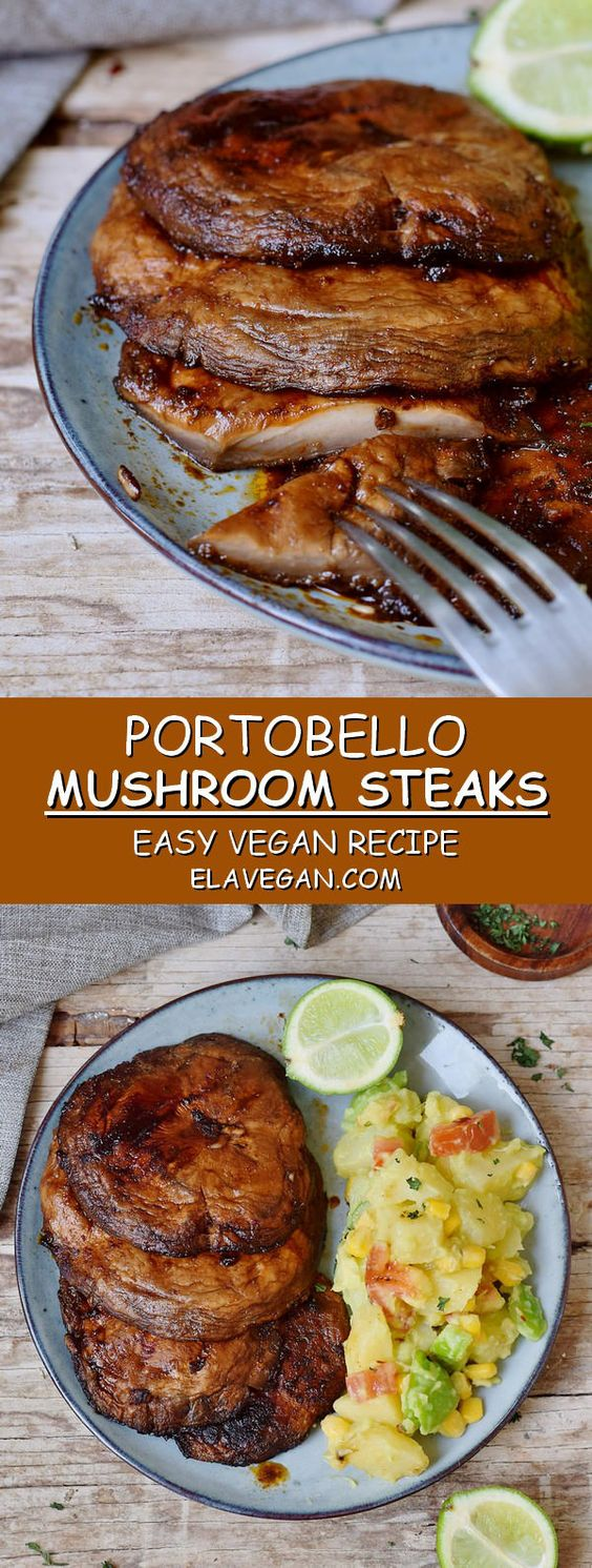 Best Portobello Steaks which are flavorful, hearty, and perfect for the grilling season! These grilled mushrooms are vegan, gluten-free, low-carb, and easy to make with only a few ingredients! Enjoy this hearty dish with potato salad.