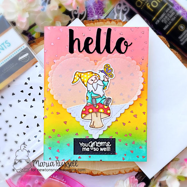 Newton's Nook Designs & Therm O Web Inspiration Week | Gnome card by Maria Russell | Gnome Garden Stamp Set and Heart Frames Die Set by Newton's Nook Design with Foil by Therm O Web #newtonsnook #handmade