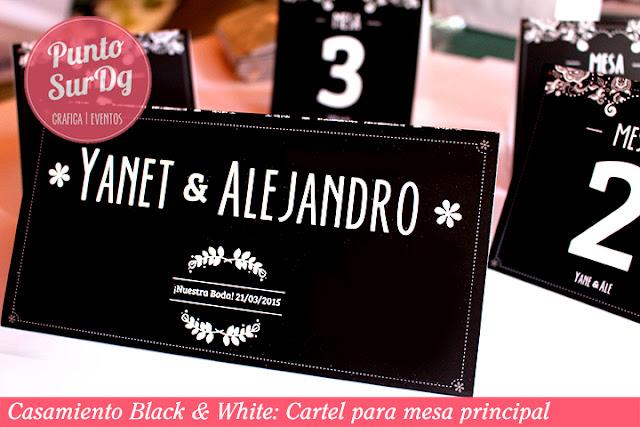 cartel mesa casamiento blanco negro