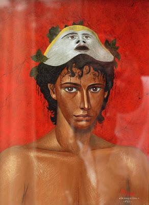 fresque romaine,éphèbe,masque