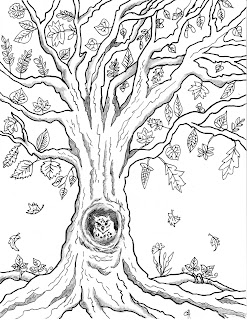 Free Printable Autumn Owl Tree Coloring Page