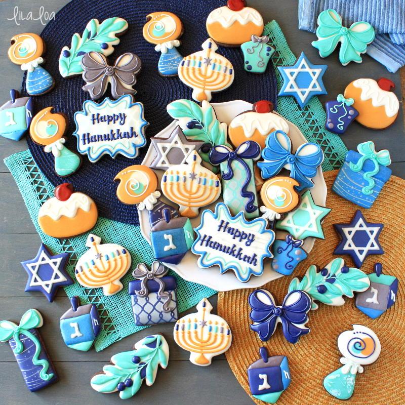 Hanukkah decorated chocolate sugar cookies