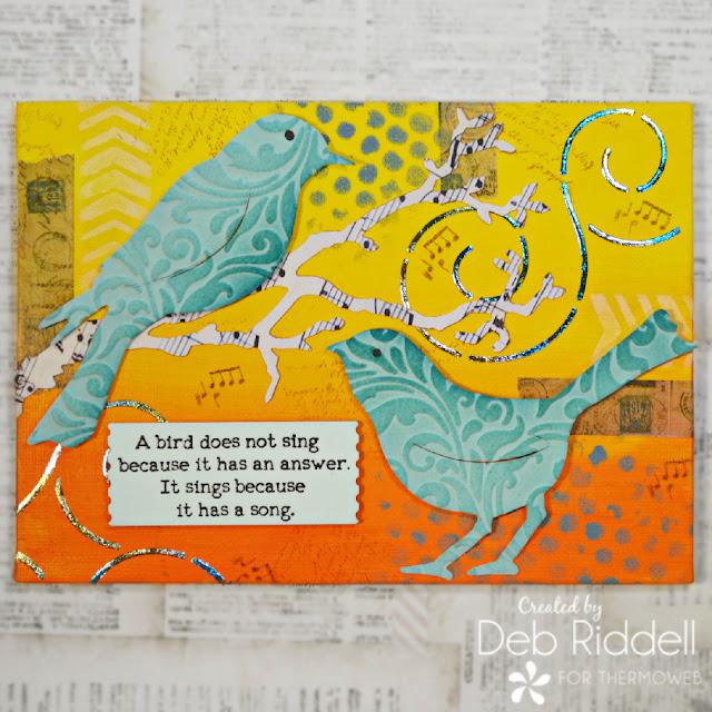 Ombre Blue Birds Mixed Media Canvas