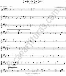 1 La Gloria de Dios Partitura de Saxo Soprano en la tonalidad original The Glory of God Sheet Music for Soprano Saxophone by Ricardo Montaner